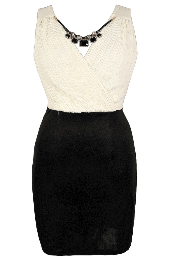 Perfectly Accessorized Crossover Pencil Dress in Black/Ivory - Plus Size