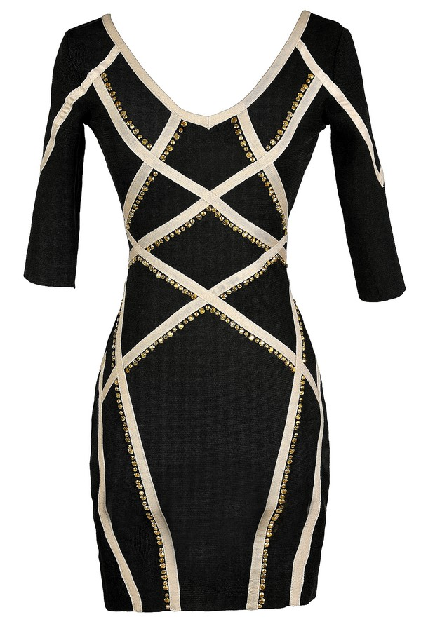 Embellished Edge Bodycon Dress in Black