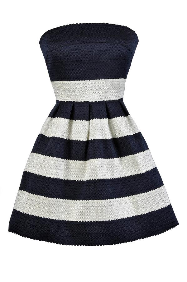 Navy and Ivory Dress, Navy and White Dress, Nautical Stripe Dress ...