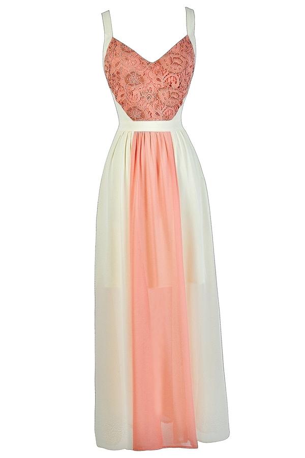 Peach and Cream Maxi Dress, Coral Pink and Cream Maxi Dress, Cute ...