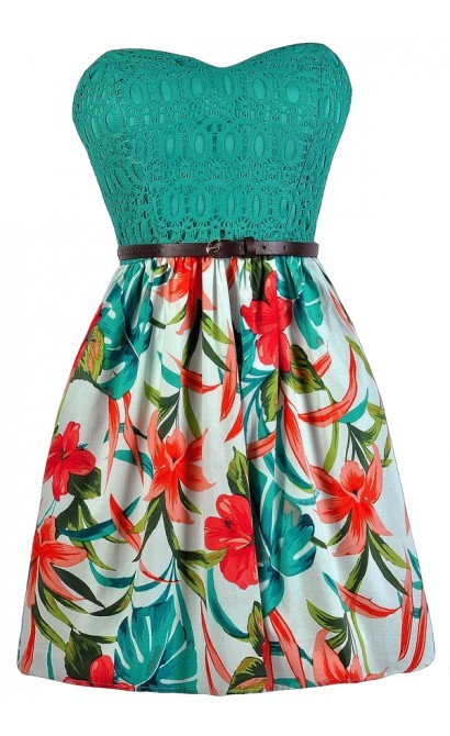 Lily Boutique Tropical Printed Dress- Cute Tropical Dress- Jade ...
