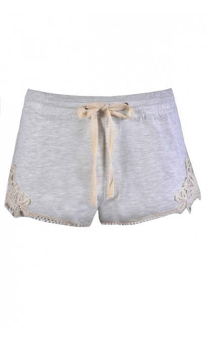 Cute Grey Shorts, Grey Lace Trim Shorts, Cute Casual Shorts, Cute Summer Shorts