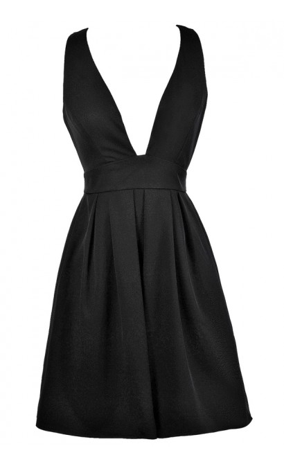 Little Black Dress, Black Plunging Neckline Dress, Black Cocktail Dress, Black Party Dress, Black A-line Dress, Black Plunging Neckline Party Dress