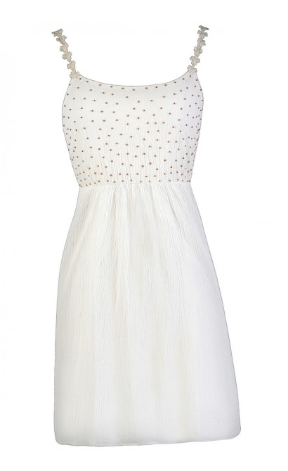 Cute White Dress, White Sundress, White Party Dress, Beaded White Dress, White Crochet Strap Dress, White Party Dress