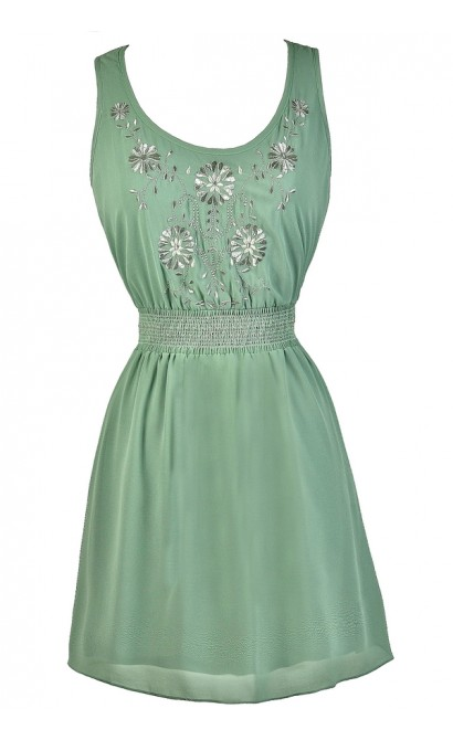 Sage Embroidered Dress, Sage Green Sundress, Sage Green A-Line Dress, Cute Summer Dress, Sage Green Casual Dress
