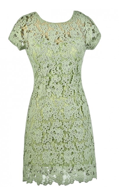 Lime Sage Green Crochet Lace Dress, Green Crochet Lace Summer Dress, Lime Sage Green Lace Dress, Green Crochet Lace Sheath Dress