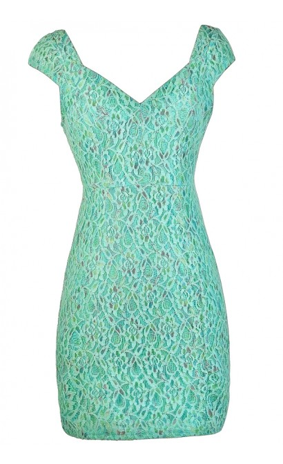 Mint Lace Dress, Mint Lace Capsleeve Dress, Mint Multi Colored Lace Dress, Fitted Lace Dress, Mint Pencil Dress, Cute Mint Dress, Blue Mint Dress