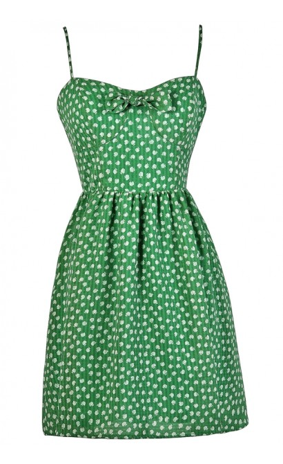 Apple Print Dress, Green Apple Print Sundress, Cute Summer Sundress, Apple Print Summer Dress