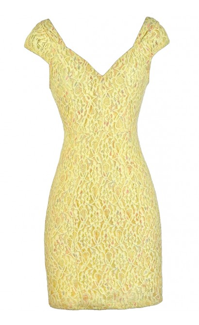 Yellow Lace Dress, Yellow Lace Pencil Dress, Cute Yellow Dress, Yellow Summer Dress, Yellow Multicolored Lace Dress, Cute Summer Dress