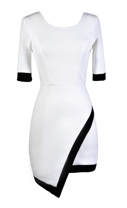 Cute White Dress, White and Black Pencil Dress, White Crossover Hemline Dress, White Contrast Sheath Dress
