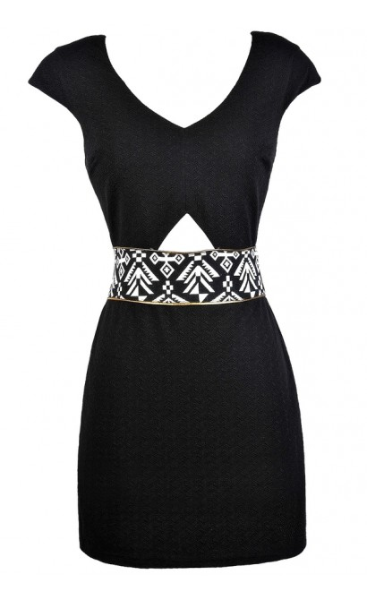 Little Black Dress, Black Pencil Dress, Black Aztec Dress, Black and Ivory Aztec Dress, Cute Black Dress, Black Party Dress