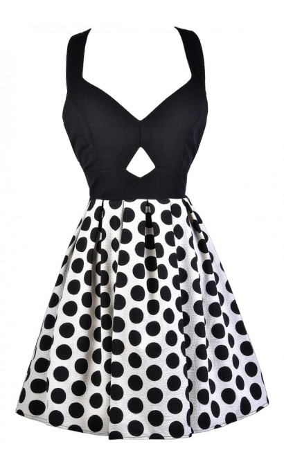 Black and Ivory Party Dress, Black and Off White Polka Dot Dress, Black and Ivory Polka Dot Dress, Cute Polka Dot Dress, Black and Off White A-Line Dress, Black and Ivory Bow Back Dress, Cutout Polka Dot Dress, Cute Polka Dot Dress, Polka Dot Party Dress