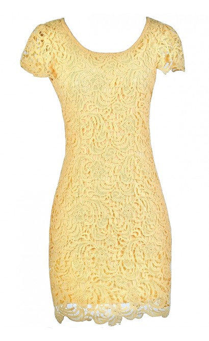 yellow Lace Dress, Yellow Lace Pencil Dress, Yellow Summer Dress, Cute Lace Dress, Cute Party Dress, Yellow Pencil Dress