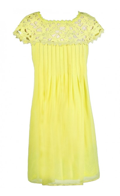 Bright Yellow Dress, Yellow Lace Dress, Yellow A-Line Dress, Yellow Party Dress, Yellow Summer Dress, Bright Yellow A-Line Party Dress