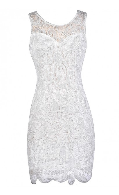 Off White Lace Pencil Dress, Off White Lace Summer Dress, Off White Lace Rehearsal Dinner Dress, Off White Lace Bridal Shower Dress
