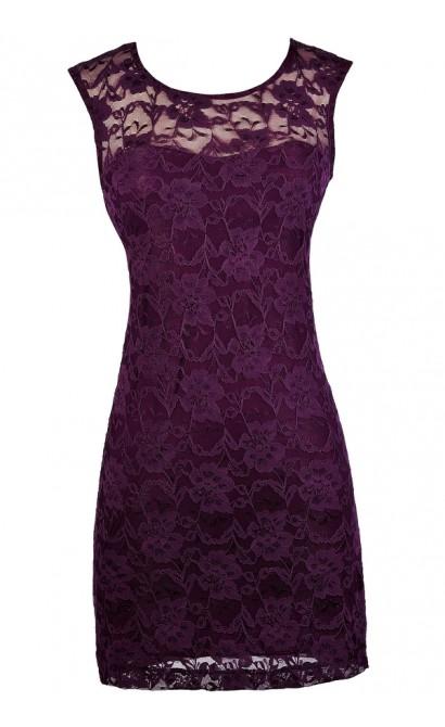 Dark Purple Lace Dress, Purple Lace Pencil Dress, Cute Purple Dress, Purple Lace Cocktail Dress, Dark Purple Lace Dress, Royal Purple Lace Dress