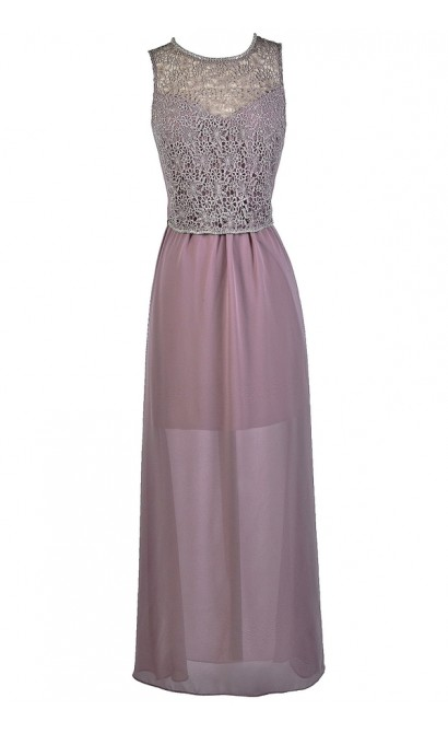 fb537c1357bf Lavender Purple Lace Maxi Dress