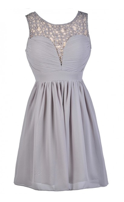 Cute Gray Dress, Grey Sundress, Grey Party Dress, Gray Party Dress, Gray A-Line Dress, Gray Cocktail Dress, Gray Chiffon Dress, Grey Chiffon Dress, Gray Crochet Dress