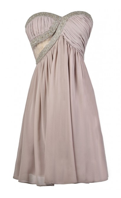 Lavender Light Purple Beaded Bridesmaid Party Dress