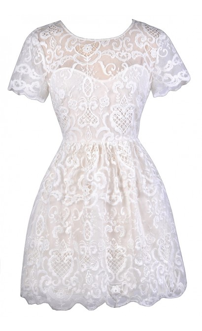 72dbe3a6641c White Embroidered Dress, Cute White Dress, White Capsleeve A-Line Dress,  White