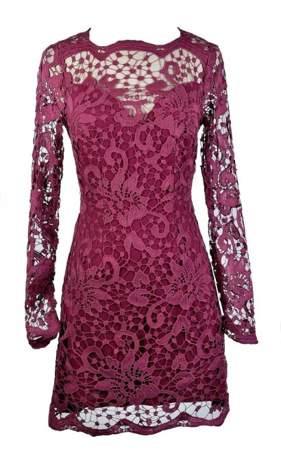 Magenta Lace Dress, Purple Lace Dress, Maroon Lace Dress, Ginger Fizz Dress, Ginger Fizz Lace Dress, Burgundy Lace Dress, Lace Pencil Dress, Longsleeve Lace Dress, Purple Lace Party Dress, Purple Lace Cocktail Dress