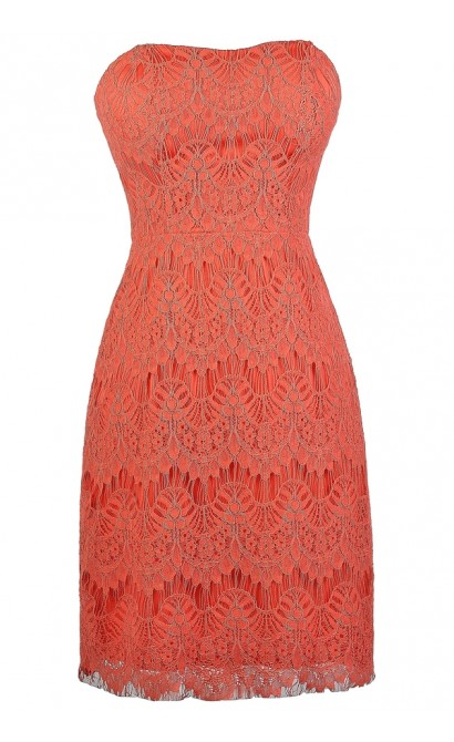coral pink lace strapless dress cute coral pink lace