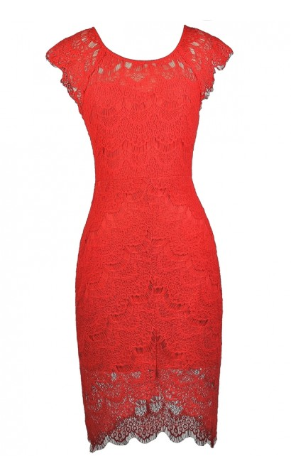Red Lace Sheath Dress, Red Lace High Low Dress, Red Lace Cocktail Dress, Red Lace Party Dress