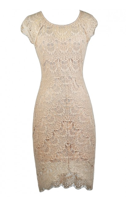 Beige Lace Sheath Dress, Beige Lace Cocktail Dress, Beige Lace High Low Dress, Beige Lace Party Dress