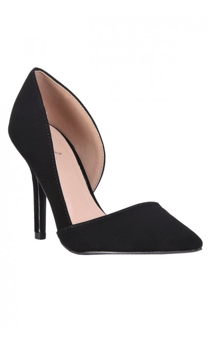 Black D'orsay Pump, Black Pointed Toe Pump, Cute Black Pumps, Black Dress Shoes