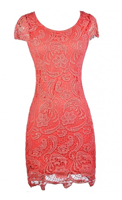 Coral and Gold Metallic Lace Dress, Coral lace Capsleeve Pencil Dress, Cute Coral Lace Dress