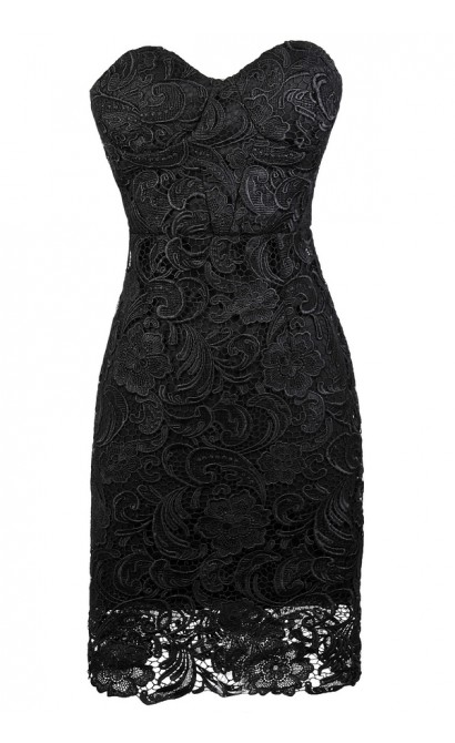 Black Strapless Lace Dress, Little Black Dress, Black Lace Bustier Dress, Black Lace Cocktail Dress