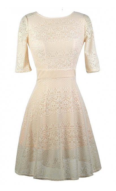 Beige and Peach Lace Dress, Beige Lace A-Line Dress, Cute Beige Dress, Beige Lace Sundress