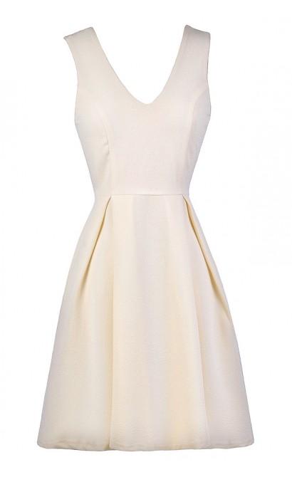 Cream A-Line Dress, Cream Party Dress, Cream Cocktail Dress, Cream Sundress