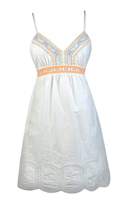 White Sundress, Cute White Dress, White Embroidered Dress, White Babydoll Dress, Little White Dress, Cute Summer Dress