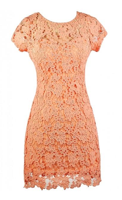 c50b12e2bb Coral Pink Lace Dress