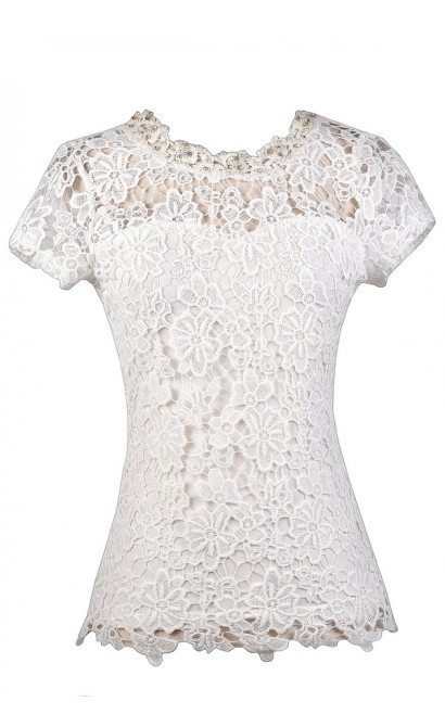 cf2ab02a2d5b36 Cute Off White Lace Top