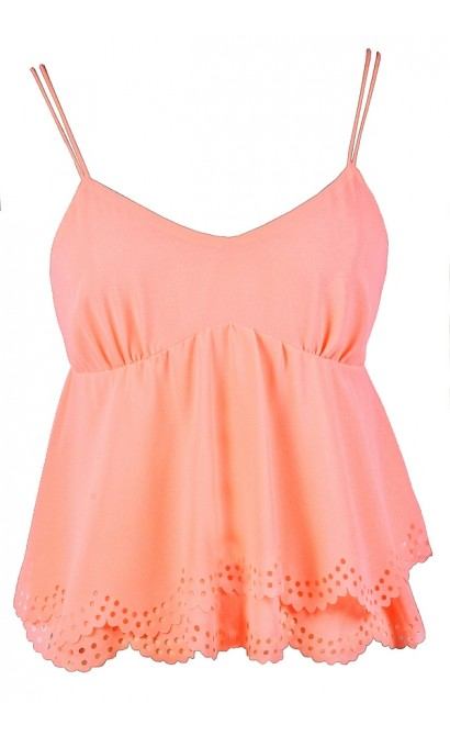Cute Peach Top, Peach Summer Top, Neon Peach Top, Coral Peach Top, Bright Peach Top, Peach Eyelet Top, Peach Crop Top