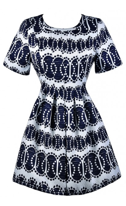 Navy and White Printed Dress, Cute Navy Dress, Navy Printed Sundress, Navy Printed A-Line Dress, Navy Printed Party Dress, Cute Navy and White Dress