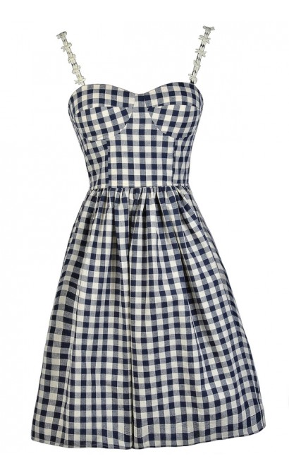 Navy Gingham Dress Cute Gingham Dress Gingham Pattern Dress Navy Amazing A Line Dress Pattern