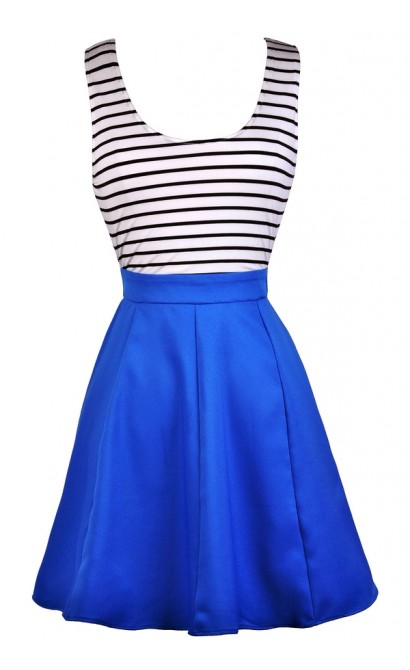 cute blue dress blue black and white stripe dress bright blue nautical stripe dress
