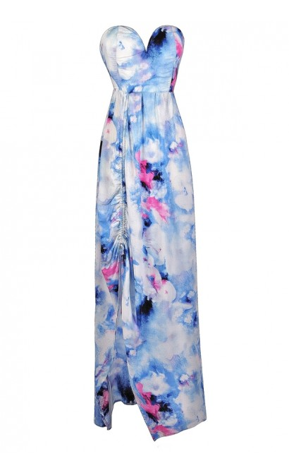 Sky Blue Printed Maxi Dress, Pale Blue Printed Maxi Dress, Blue Pink and White Printed Maxi Dress, Watercolor Printed Maxi Dress, Cute Maxi Dress, Summer Maxi Dress