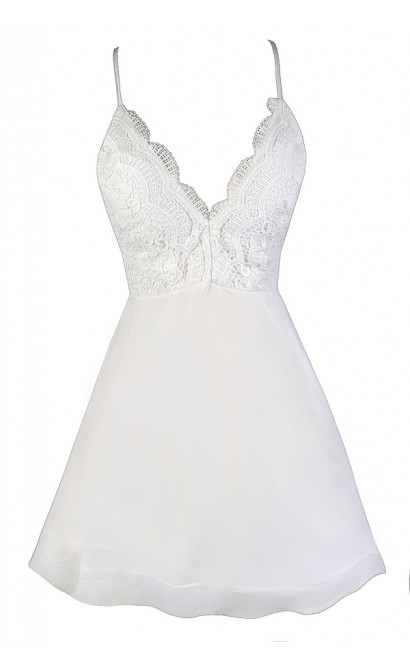 White Summer Dress, Cute White Dress, White Lace Dress, Little White Dress, White Party Dress, White Cocktail Dress, Structured Hemline Dress, Flouncy White Dress, White A-Line Dress