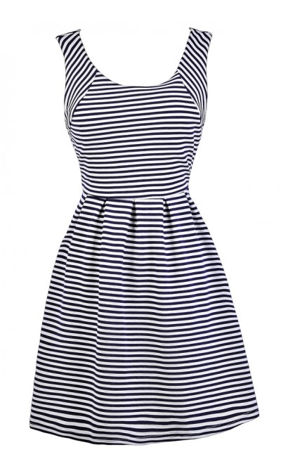 Navy Stripe Dress, Navy and Ivory Stripe Dress, Cute Navy Dress, Navy Nautical Stripe Dress, Navy Stripe Party Dress, Navy and White Stripe A-Line Dress, Navy Stripe Summer Dress, Cute Summer Dress