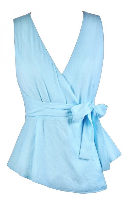 Cute Summer Top, Sky Blue Top, Light Blue Top, Sky Blue Wrap Top, Cute Wrap Top, Light Blue Wrap Top
