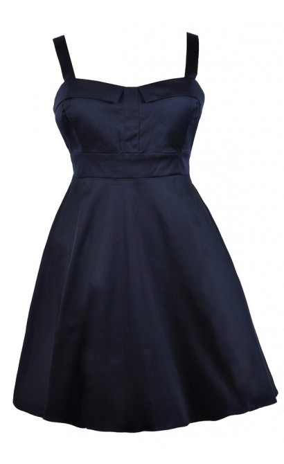 Cheerful Occasion Fit and Flare Dress in Navy- Plus Size