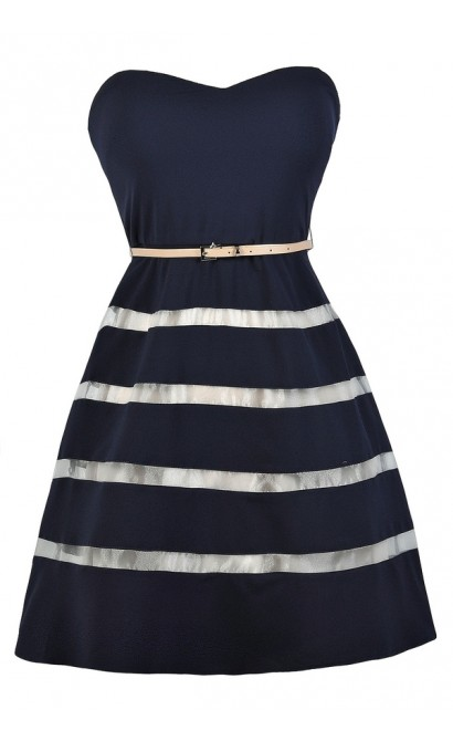 Stripe Navy Dress, Belted Navy Dress, Navy Sundress, Navy A-Line Dress, Navy Party Dress, Cute Navy Dress, Navy Party Dress, Navy A-Line Dress, Navy Nautical Stripe Dress, Cute Summer Dress