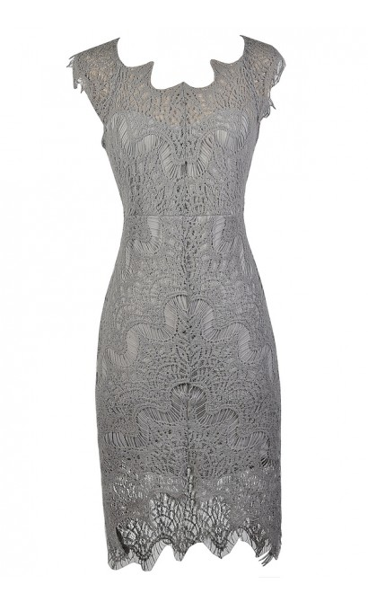 Cute Grey Dress, Grey lace Dress, Grey Lace high Low Dress, Grey Lace Sheath Dress, Grey Lace Pencil Dress, Grey Lace Cocktail Dress, Grey Lace Party Dress