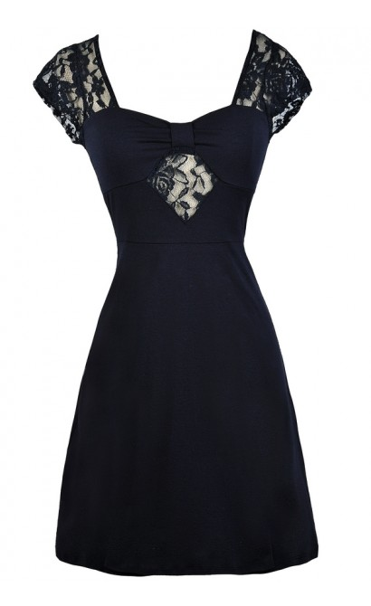 Cute Navy Dress, Navy Lace Dress, Navy Party Dress, Navy Summer Dress, Navy A-Line Summer Dress, Navy Lace Shoulder Dress