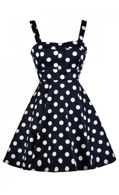 Cute Polka Dot Dress, Navy and White Polka Dot Dress, Cute Summer Dress, Cute Navy Dress, Polka Dot Print Dress, Retro Polka Dot Dress, Navy Sundress, Navy Summer Dress, Navy Polka Dot A-Line Dress