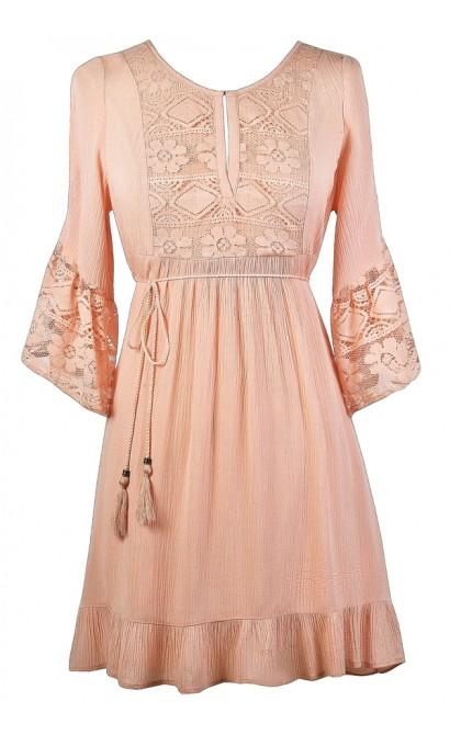 Pink Boho Dress, Cute Pink Dress, Pink Lace Dress, Boho Pink Hippie Dress